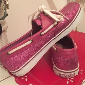 Sperry Pink Glitter Boat Shoes